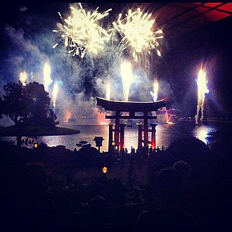 """Japan Pavilion at Epcot - The show """"IllumiNations: Reflections of Earth, Epcot"""", seen from the Japan Pavilion"""