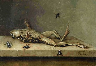 Oil on copper - Image: Image of the painting Dead Frog with Flies