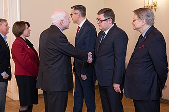 Amy Klobuchar - Klobuchar with Lindsey Graham and John McCain in Latvia in 2016