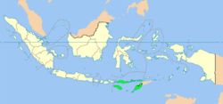 Location o East Nusa Tenggara in Indonesie
