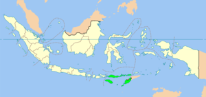 Map of Indonesia showing East Nusa Tenggara