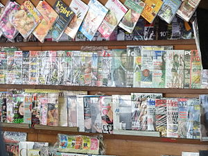 Indonesian magazines at a kiosk in Jakarta.