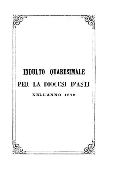 File:Indulto quaresimale per la diocesi d'Asti nell'anno 1872 (Savio).djvu