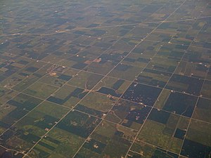 view from airplane of central indiana farmland