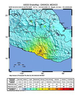 Map of southern Mexico showing the areas affected by the earthquake of 20 March 2012, colored in yellow and orange. A star is drawn at the border between the states of Guerrero and Oaxaca.