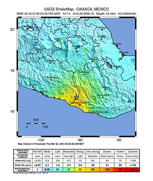 2012 Guerrero–Oaxaca earthquake - Image: Intensity Oaxaca 2012