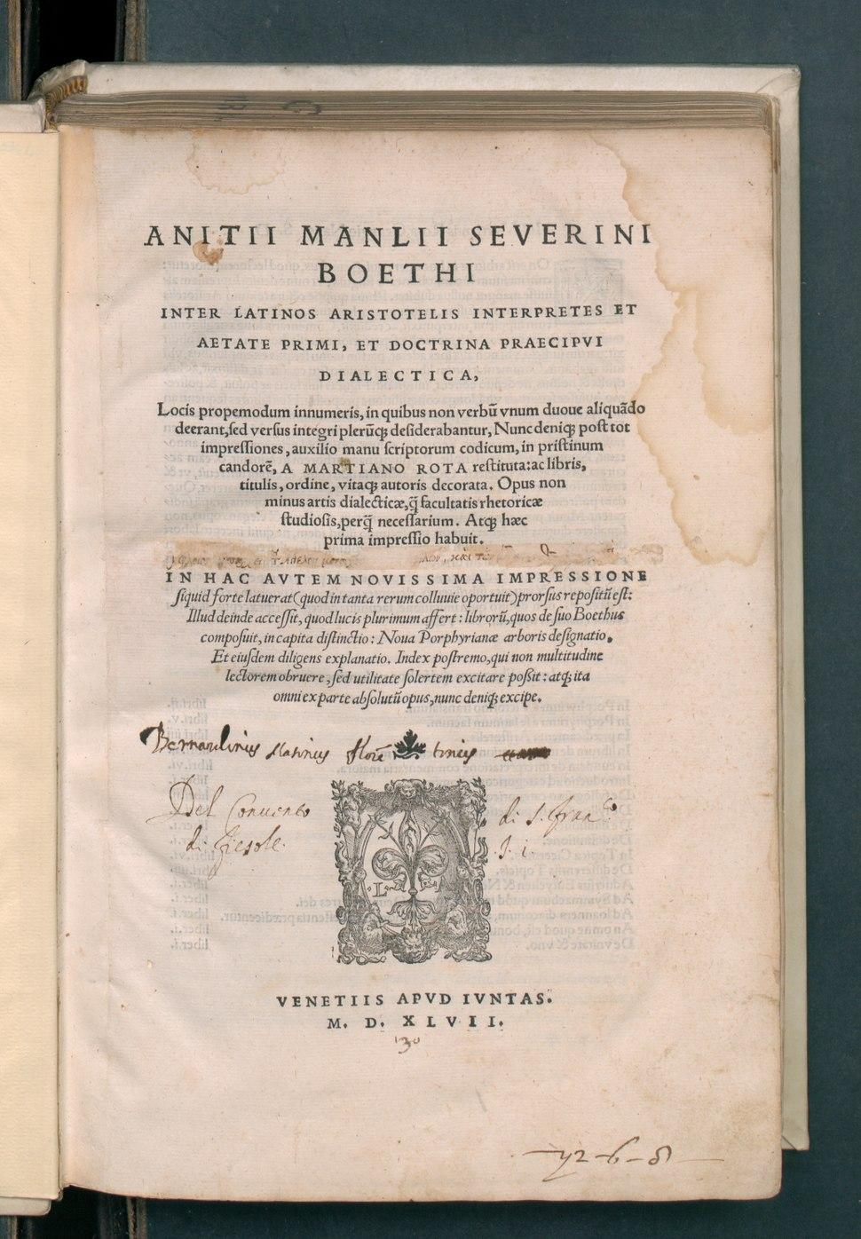 Inter latinos aristotelis interpretes et aetate primi, et doctrina praecipui dialectica