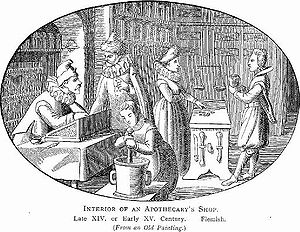 Interior of an apothecary's shop. Illustration from Illustrated History of Furniture, From the Earliest to the Present Time from 1893 by Litchfield, Frederick, (1850-1930)