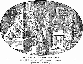 Apothecary - Interior of an apothecary's shop. Illustration from Illustrated History of Furniture, From the Earliest to the Present Time from 1893 by Frederick Litchfield (1850–1930).
