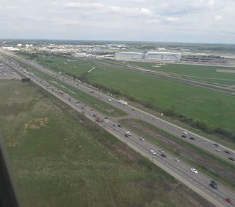 Interstate 94 in Michigan - I-94 as seen from the air near Detroit Metropolitan Wayne County Airport