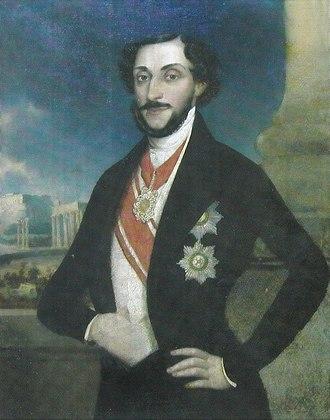 Barbu Dimitrie Știrbei - Barbu Ştirbei, portrait by  Ion Negulici