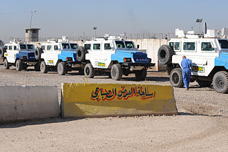 RG-31 Nyala - Iraqi National Police armored vehicles line up for a convoy at Joint Security Station Beladiyat.