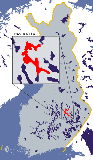 Riistavesi - Location of iso-Kalla, which includes lakes Riistavesi, Kallavesi, Suvasvesi Muuruvesi.