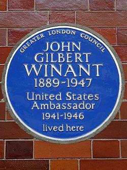 Photo of John Gilbert Winant blue plaque