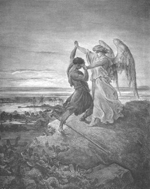 Jacob Wrestling with the Angel; illustration b...