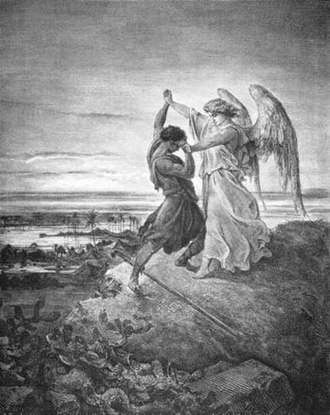 Wrestling - Jacob Wrestling with the Angel illustration by Gustave Doré (1855)