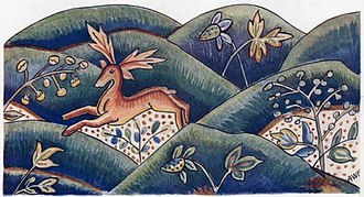 Jacobean embroidery - Sketch of a portion of the base or terra firma from an 18th(?) century curtain.