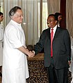 Jairam Ramesh and the Minister for Industry, Trade and Marketing of Tanzania, Mr. Basil Mramba are at the wrap-up session of the Second Joint Trade Committee Meeting between India and Tanzania, in New Delhi on May 18, 2007.jpg