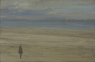 The Monk by the Sea - James Abbott McNeill Whistler, Harmony in blue and silver: Trouville, 1865.
