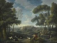 Jan Frans van Bloemen - A Wooded Landscape With a Fountain, A Capriccio View of Rome Beyond.jpg
