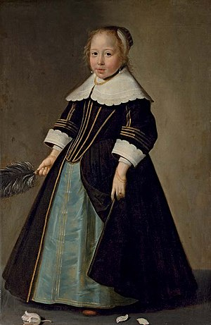 Jan Jansz. de Stomme - Image: Jan Jansz de Stomme Portrait of a girl in a blue and black dress with gold trimming, with white lace collar