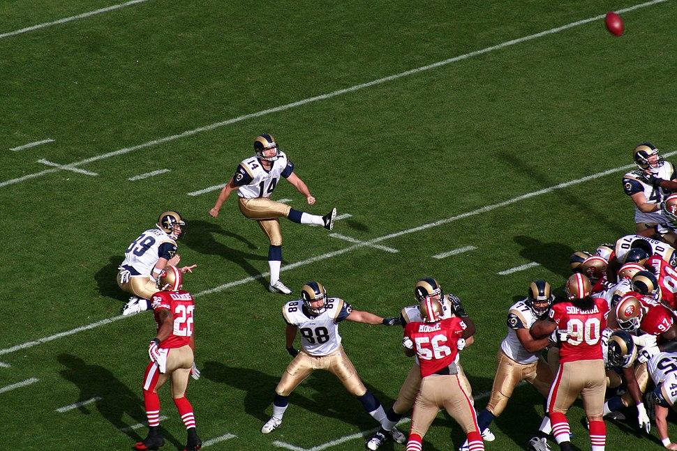 Jeff Wilkins attempts kick