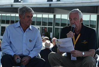 Jerry Baker (announcer) - Jerry Baker (right) interviewing Al Unser at the 2015 Indianapolis 500.