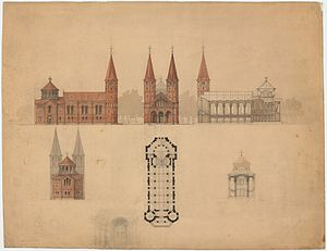 Jesus Church, Copenhagen - Non-final design proposal with two towers
