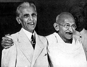 Mahatma Gandhi and Mohammad Ali Jinnah, key le...