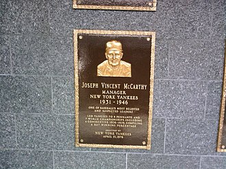 Joe McCarthy (manager) - Joe McCarthy's Plaque in Monument Park.