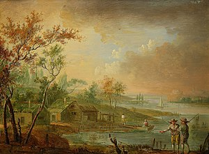 Johan Philip Korn - Lake landscape with houses and figures by Johan Philip Korn