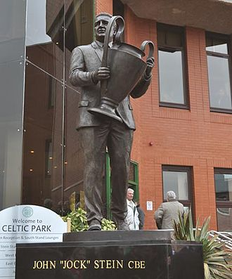 Celtic Park - Bronze statue of Jock Stein outside stadium, by sculptor John McKenna.