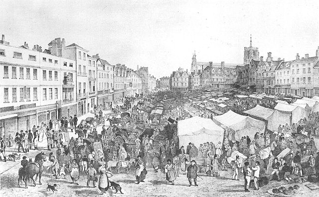 """Norwich Market by John Sell Cotman, 1806. (Wikimedia Commons) In Wealth of Nations, Smith speaks of humanity's natural propensity to """"truck and barter."""""""
