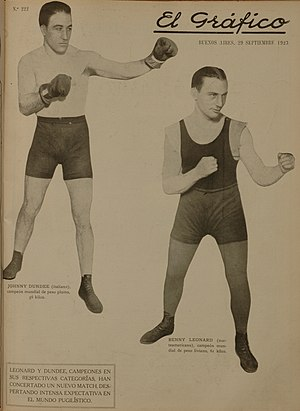 Johnny Dundee - Johnny Dundee y Benny Leonard en 1923.