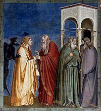 Judas being paid - Capella dei Scrovegni - Padua 2016.jpg