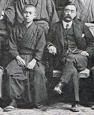 Jun'ichirō Tanizaki - Tanizaki (left) as a student of the First Higher School, and its Head Master Nitobe Inazō (right), in 1908