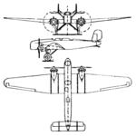Junkers S 36 3-view Le Document aéronautique August,1928.png