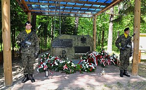 Uroczysko Baran killing fields - Honor guard at the Uroczysko Baran monument to fallen soldiers of AK, WiN, and BCh, shot into mass graves at the communist killing fields of Kąkolewnica in 1944–45