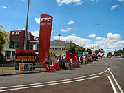 Balmoral KFC workers and allies picket the store.