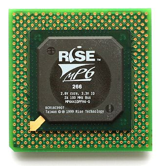 MP6 - The Rise Technology mP6 microprocessor, the 387-ball BGA package mounted on a 296-pin Socket 7 PPGA adapter.