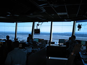 Seattle–Tacoma International Airport - The interior of Sea–Tac's control tower, commissioned in 2004, is 850ft2 (79m2). At center is a radar display; at top right is the light gun