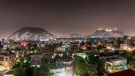 Night scene in Kabul in 2016, with three mountains visible Kabul-Pano By Dani.jpg
