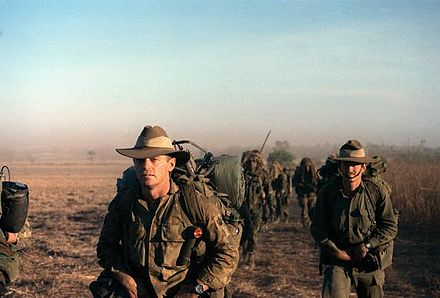 Australian soldiers lead a column of American troops during Exercise Kangaroo '89, which was held in northern Australia. Kangaroo 89.jpg