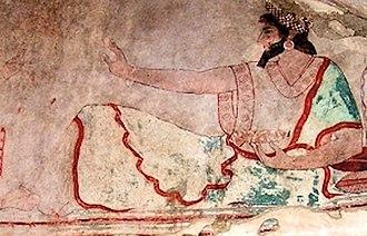 Satrap - A dignitary of Asia Minor in Achaemenid style, circa 475 BC. Karaburun tomb near Elmalı, Lycia.