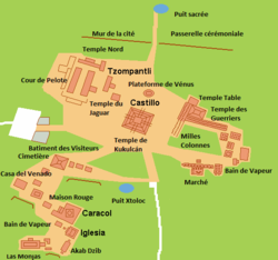 map of central portion of Chichen Itza