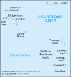 Karte von Südgeorgien und den Südlichen Sandwichinseln