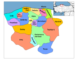 Location of Abana within Turkey.