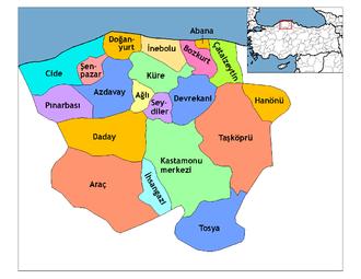 Bozkurt, Kastamonu - Image: Kastamonu districts