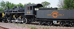 Kewaunee, Green Bay and Western Railroad - Image: Kewaunee, Green Bay & Western 49 steam locomotive (2 8 0) & tender