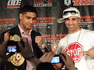 British Asian - Amir Khan (left), with American boxer Paulie Malignaggi (right).
